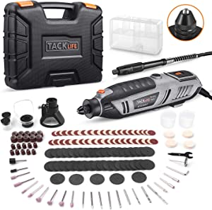 TACKLIFE Rotary Tool 1.8 Amp Power with MultiPro Keyless and 170 Accessories Including Flex Shaft, Shield and Cutting Guide, Perfect for Sanding, Grinding, Cutting and Engraving-RTD36AC