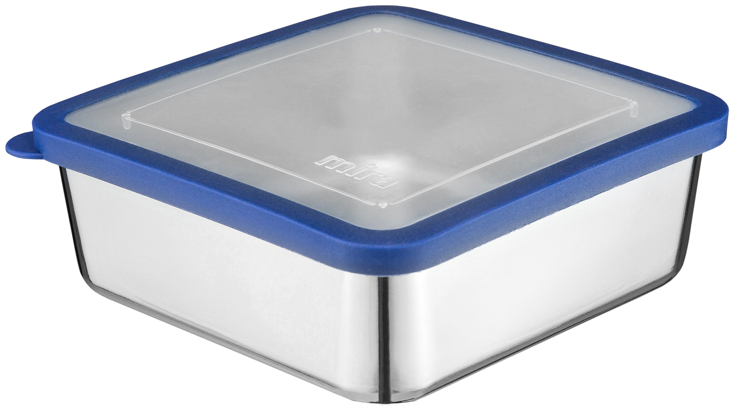 MIRA Stainless Steel Lunch Box Food Storage Container   BPA Free, Eco-Friendly, Reusable Sandwich Box & Snack Container   For Kids & Adults   6 x 6 in   Transparent Lid