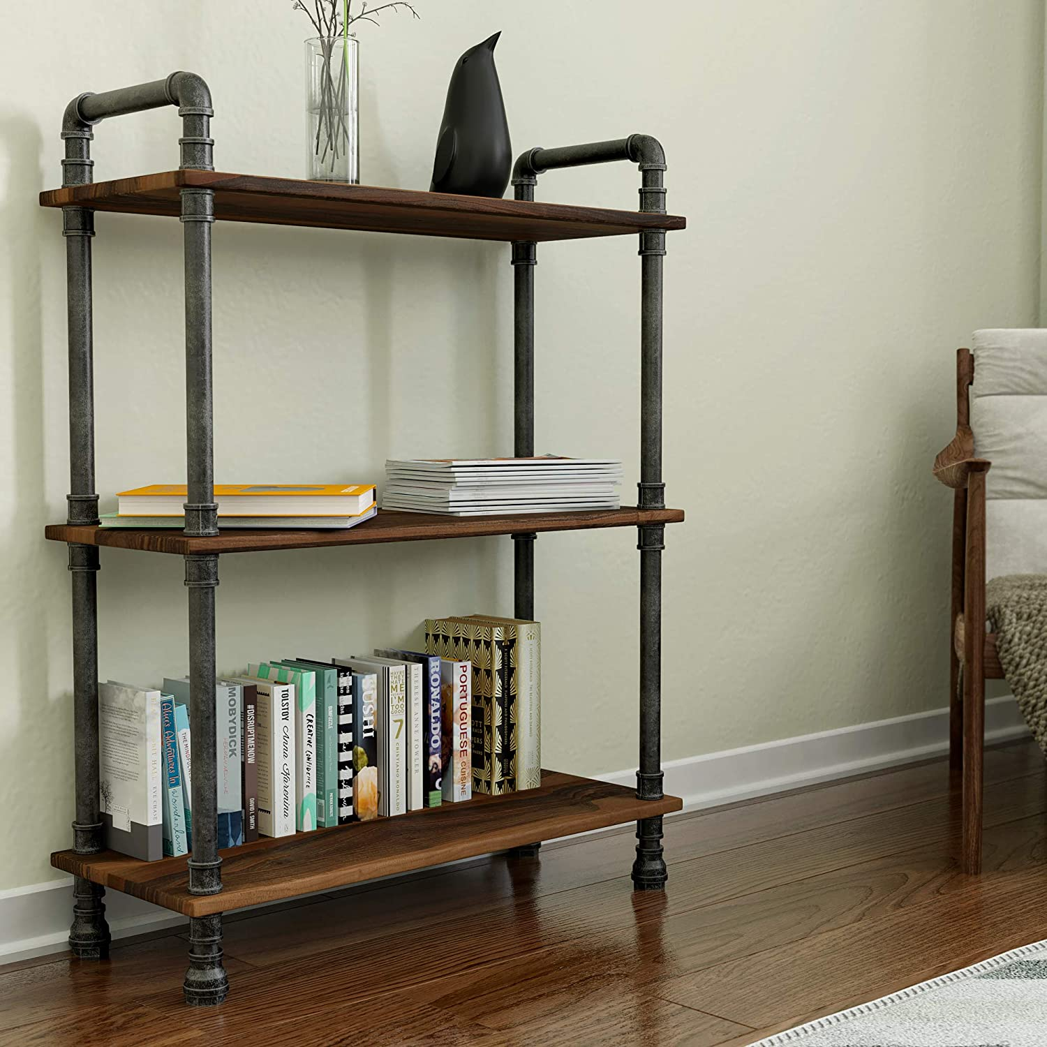 Barnyard Designs Furniture 3 Tier Etagere Bookcase Solid Pine Open Wood Shelves Rustic Modern Industrial Metal And Wood Style Bookshelf Brown 38 5 X 29 5 X 11 75 Amazon Ca Home Kitchen