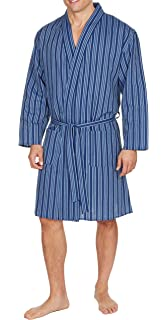 e697f26acdb INSIGNIA Mens Plain Woven Lightweight Cotton Poly Dressing Gown Robe