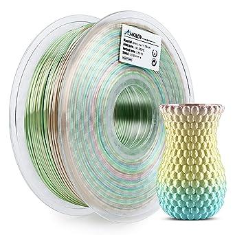 AMOLEN PLA Filamento Impresora 3D 1.75mm Seda Rainbow Multicolor ...