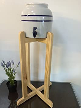 Porcelain Ceramic Water Dispenser Blue Stripes and Natural Wood Floor Stand