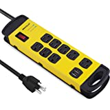 Oviitech 8 Outlets Mountable Heavy Duty Surge Protector Metal Power Strip with 2 USB Charging Ports(2.4A),1800 Joules with 6