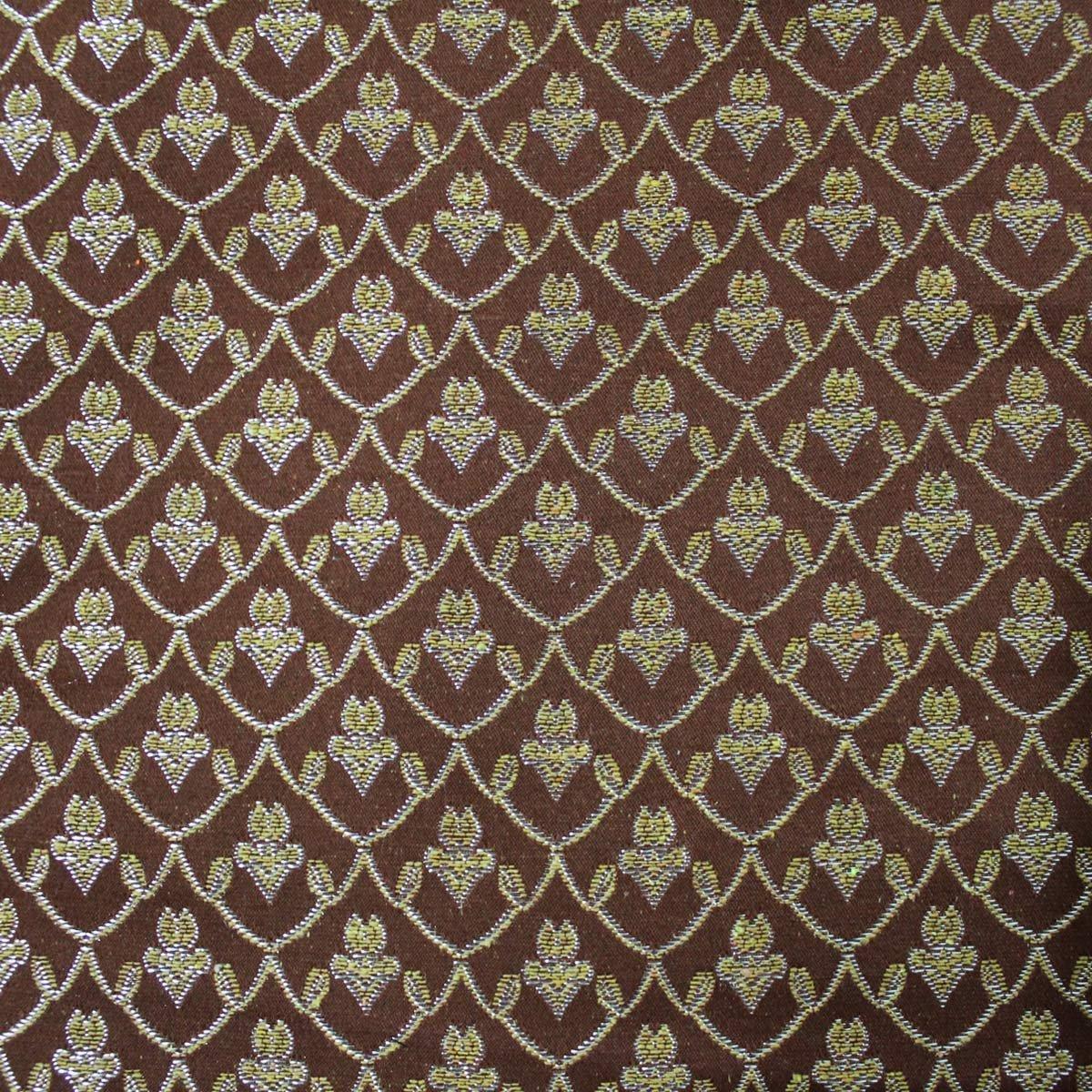 Russo Tessuti Tessuto Tappezzeria Damascato Iris 280 x 280 cm Vari Colori Oro-Marrone