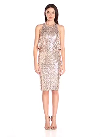 0ee4a3ad6d Amazon.com  Badgley Mischka Women s Sequin Drape Back Cocktail Dress ...