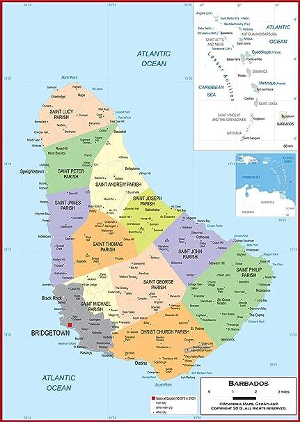 Amazon.com : Academia Maps - Wall Map of Barbados - Fully ...