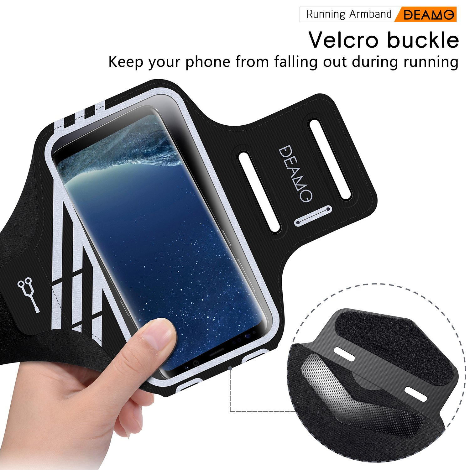 IPhone X, 8, 8+, 7, 7+, 6S, 6S+, 6, 6+ Samsung S8 S9 SPORTS Armband - Fingerprint Touch, Great for Running, Cycling or any Fitness Activity, Unique Hidden Pocket for Stores Cash, Cards and Keys. by Deamo (Image #2)