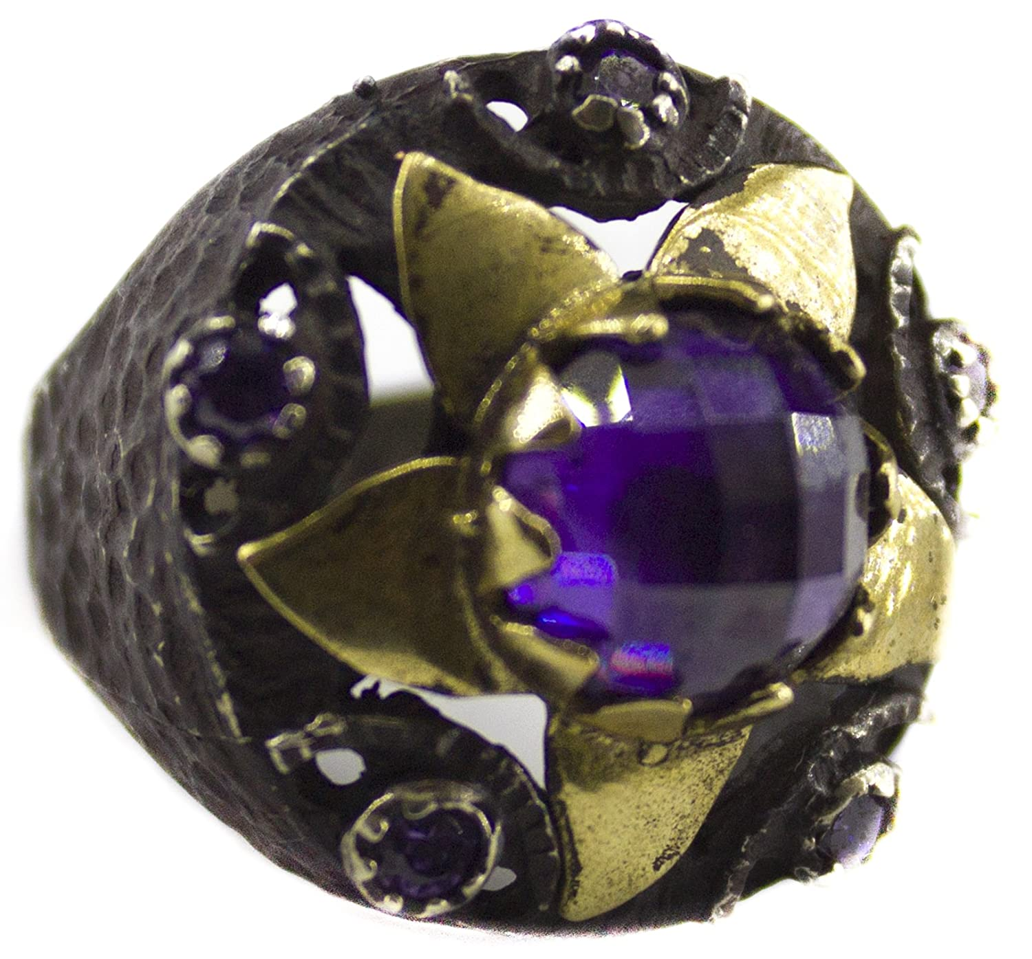 Amethyst CZ Stone Falcon Jewelry Sterling Silver Unisex Ring