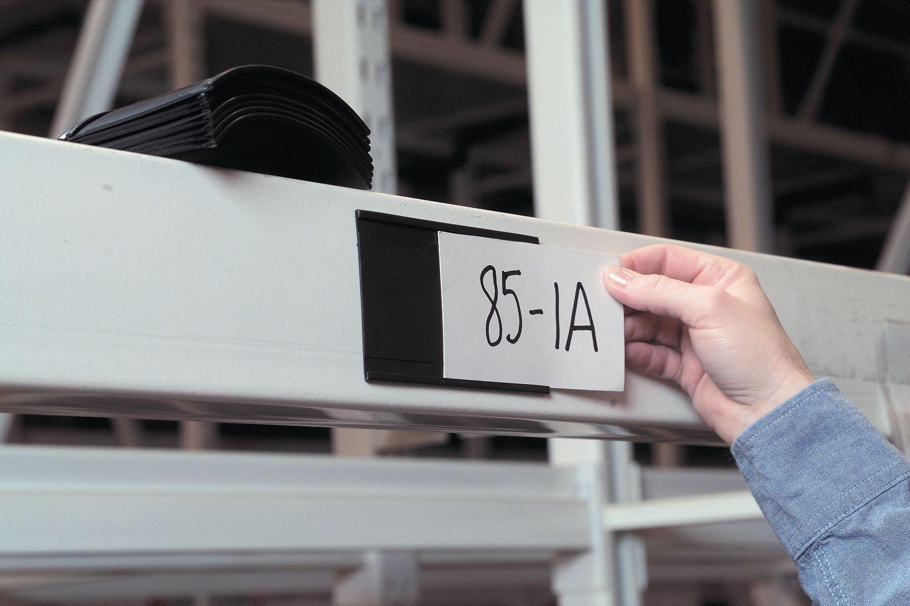 Magnetic Label Holder, Black, 6''L x 3/4''W, 25 PK