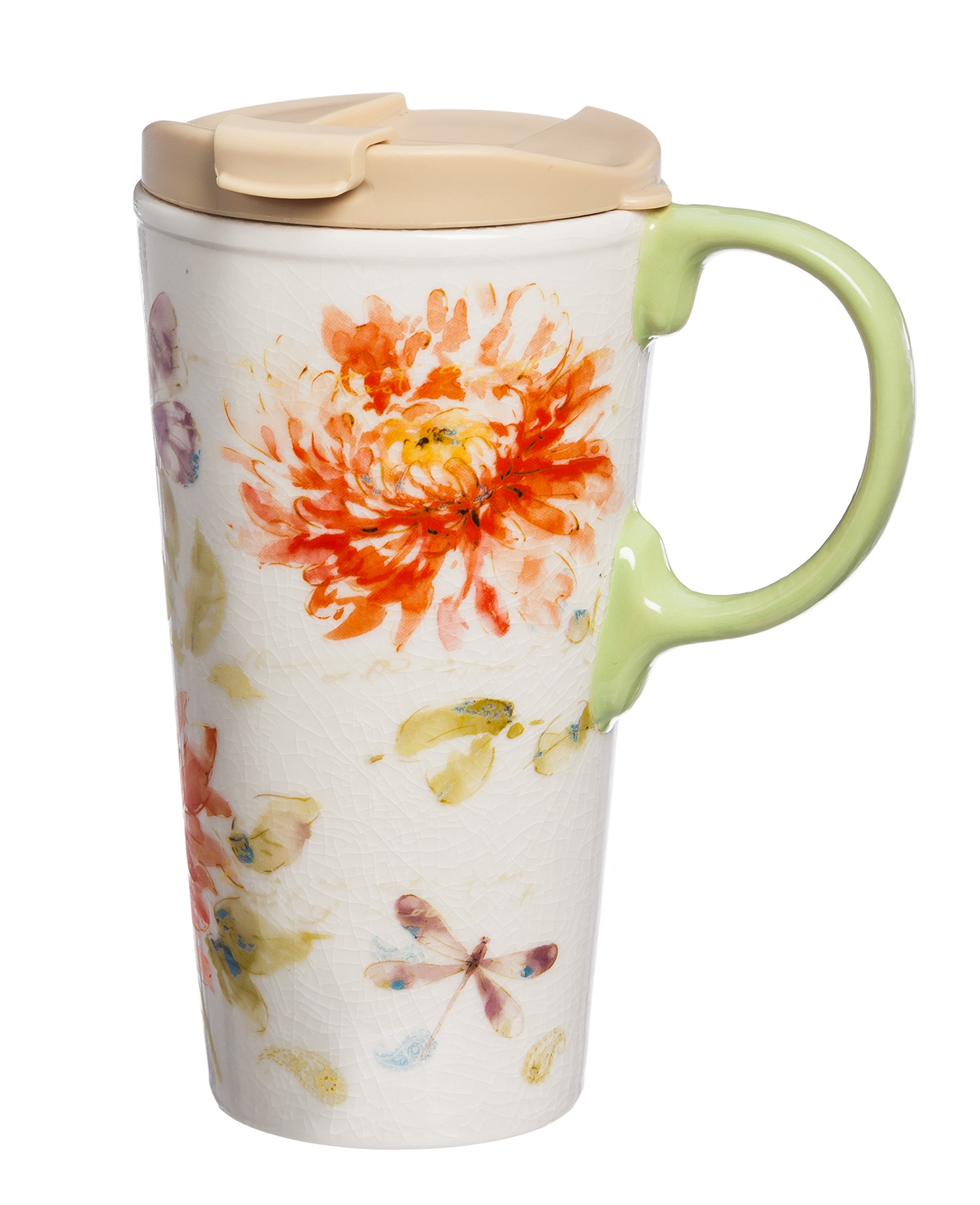 Cypress Home Watercolor Floral Ceramic Travel Coffee Mug, 17 ounces