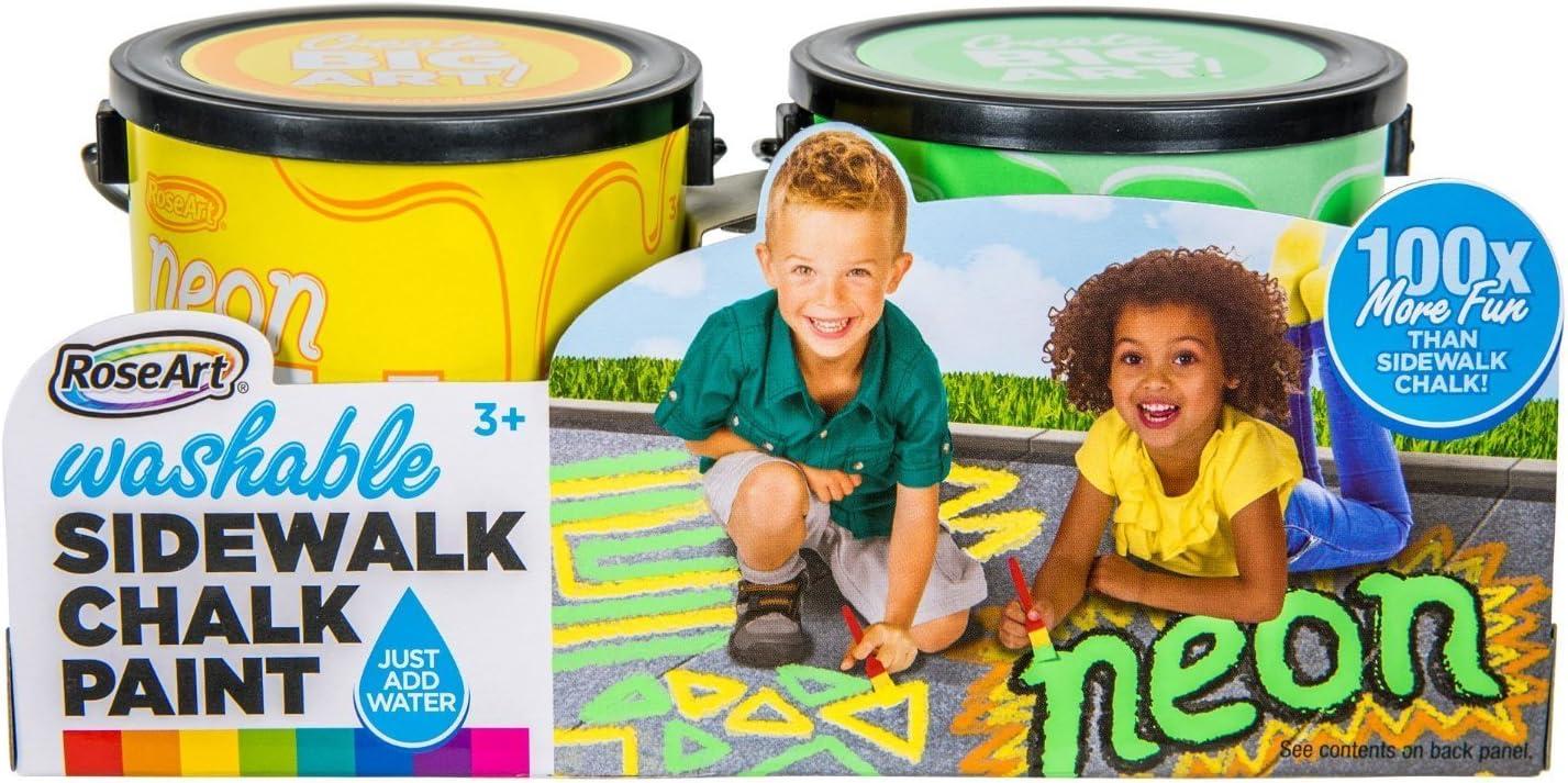 RoseArt Washable Sidewalk Chalk Paint 2ct Neon Grn/ylw
