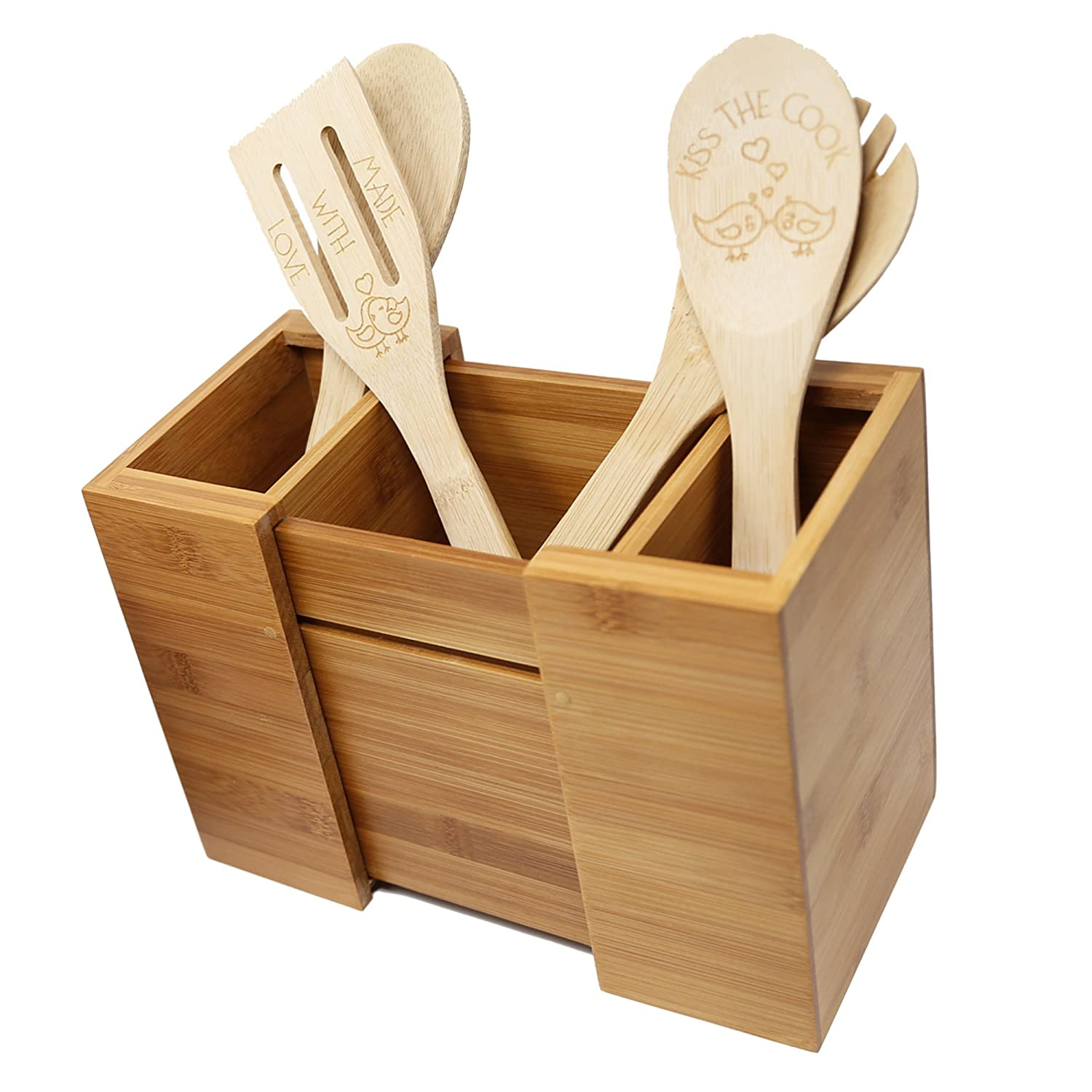 Bamboo Expandable Utensil Holder/Organizer