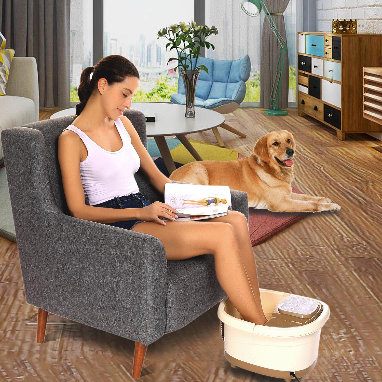 Foot Spa Massage With Manual Rolling Massage - 3 Pro-set Program - Surfing & Heating, Auto-Massage, Bubble Oxygen Ozone Sterilization, Time Setting
