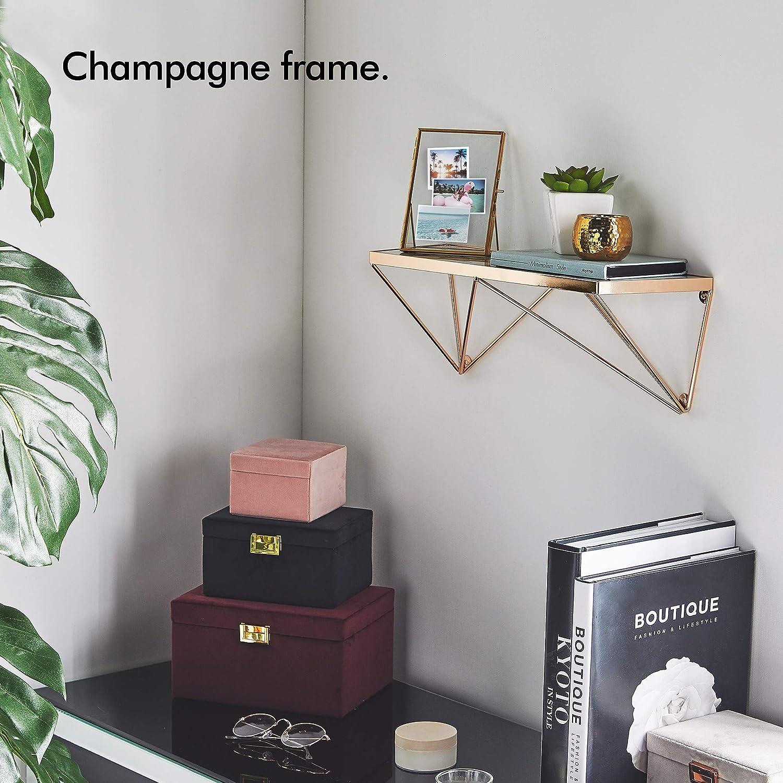 Beautify Mensola Effetto Marmo con Telaio colore Champagne