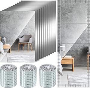 12 Pieces Adhesive Non Glass Mirror Sheets Flexible Mirror Stickers with Square Glass Mirrors Mosaic Tiles Sheets Mini Mosaic Tiles Mirror Stickers in 1440 Pieces for DIY Craft Home Wall Decor