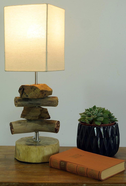Guru-Shop Lámpara de Mesa/lámpara de Mesa Salamanca, Madera de ...