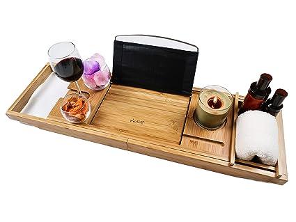 ec64663b913d1 XcE Luxury Bathtub Caddy Tray, Bamboo Wood (Natural Wood Colour ...