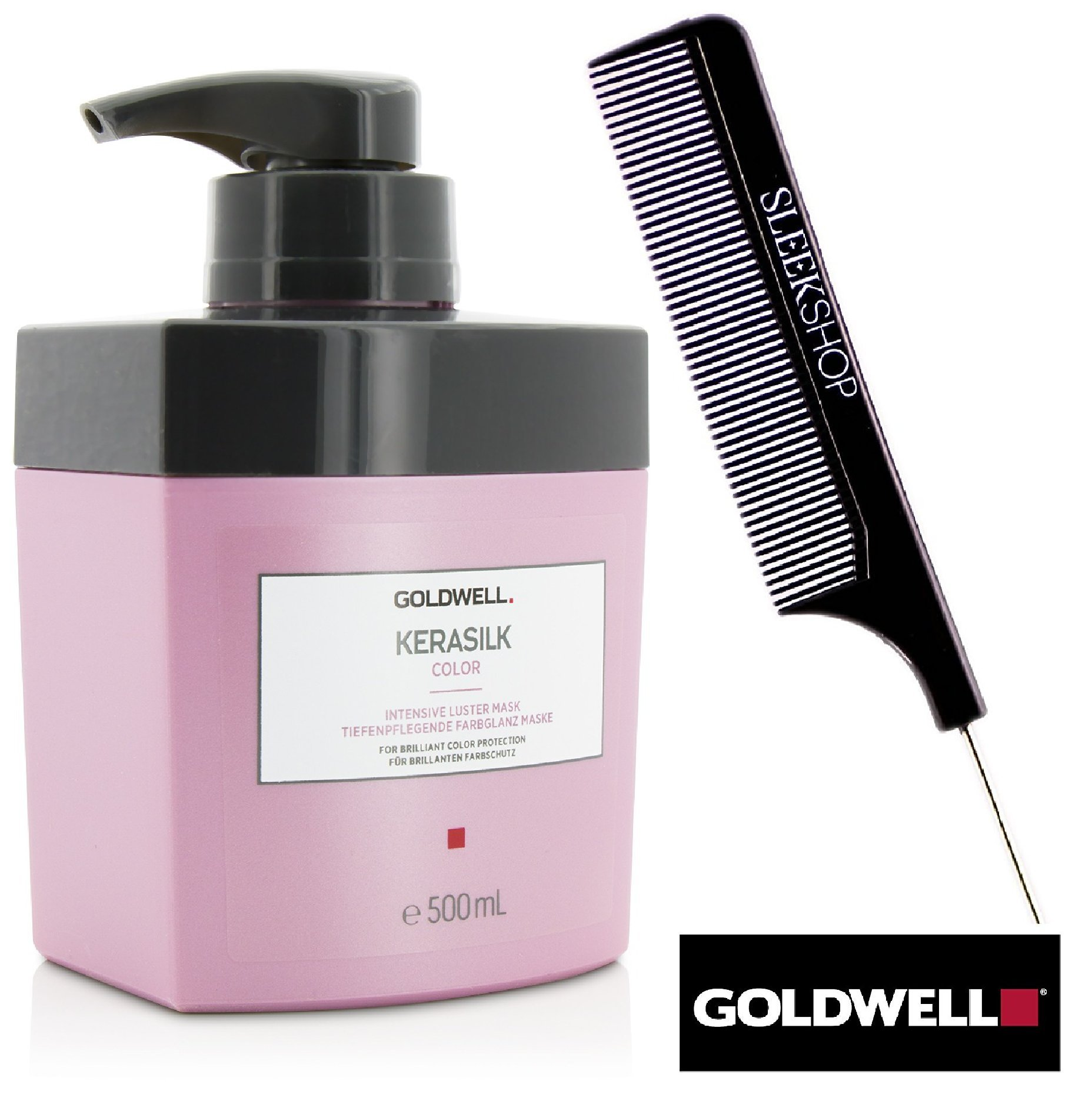 Goldwell Kerasilk COLOR Intensive Luster Mask for brilliant color protection (with Sleek Steel Pin Tail Comb) (16.9 oz / 500 ml PRO SIZE)