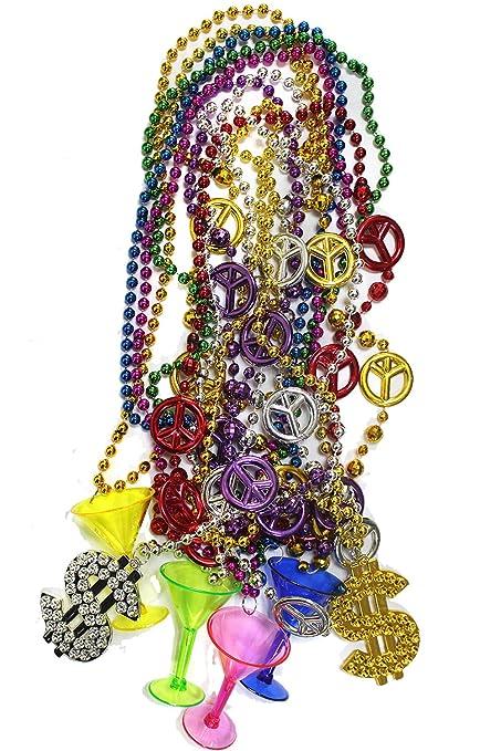 Amazon 10pcs Mardi Gras Beads Bulk Beaded Necklace With 4 X
