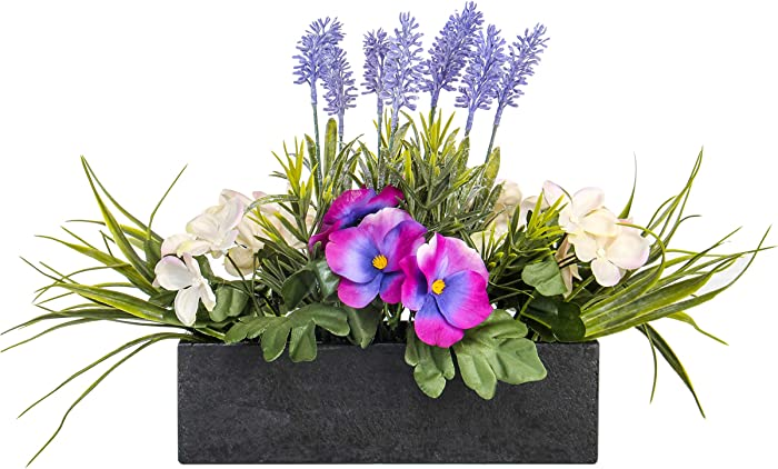 Jusdreen Artificial Flower Arrangement in Imitated Wood Pot Vivid Lavender Violet Orchid Grass Bonsai Indoor and Outdoor Floral Arrangements for Home Office Décor House Decorations