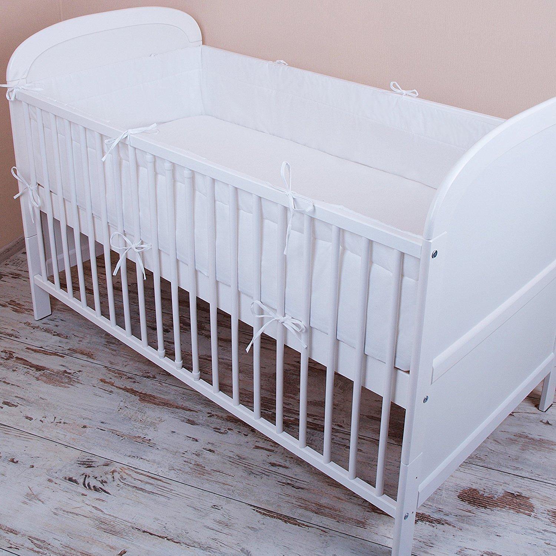 Amilian® Bettumrandung Nest Kopfschutz Nestchen 420x30cm, 360x30cm, 180x30 cm Bettnestchen Baby Kantenschutz Bettausstattung Einfarbig- weiß (180x30cm) zieba