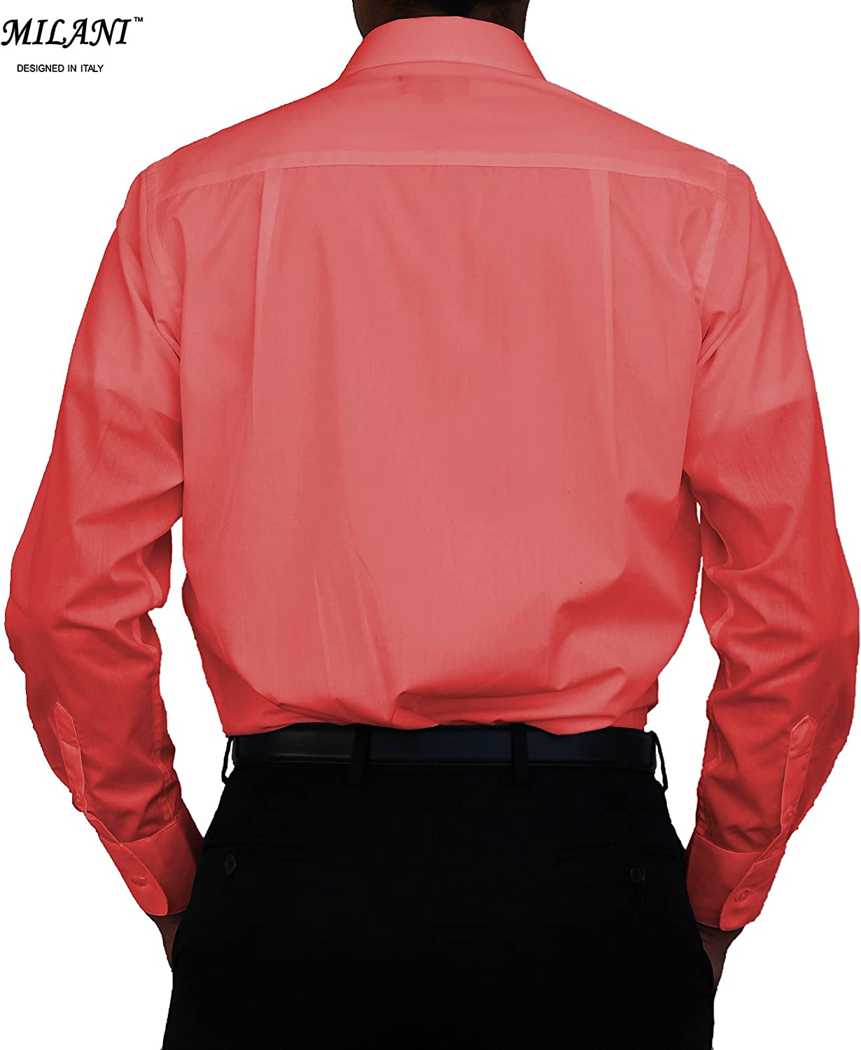 Milani Mens Dress Shirt with Convertible Cuffs 17.5 Neck 34//35 Sleeve in Coral