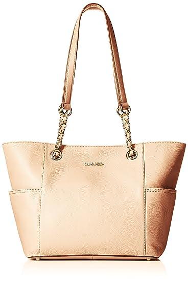 5e205438e01e0 Calvin Klein Pebble Leather Chain Tote