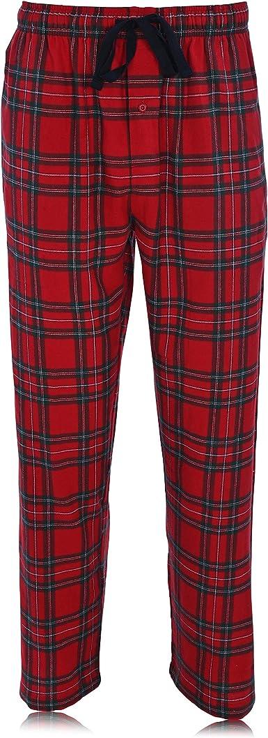 Hanes Conjunto de pijama y pantalón de franela de algodón 100% para hombre