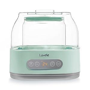 Luvele Pure Plus Yogurt Maker | 2L Glass Container SCD & GAPS Diet Friendly Yoghurt Maker 24 hour