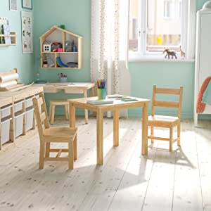 Flash Furniture Kids Solid Hardwood Table and Chair Set for Playroom, Bedroom, Kitchen - 3 Piece Set - Natural