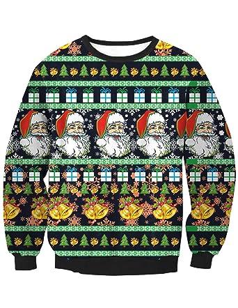 2728c5ca06a Pull Noël Homme Moche Imprimé Sapin de Noël Wapitis Renne Cerf Unisexe Femme  Sweat-Shirt Col Rond Pull Homme Manches Longues Décontracté Sportif Sweat  Shirt ...