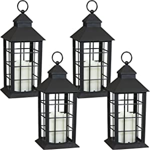 Sunnydaze Fairfax Indoor Decorative LED Candle Lantern - Set of 4 - Rustic Vintage Flameless Light for Living Room, Kitchen, Bedroom and Bathroom - Antique Style Tabletop Decoration - 12-Inch