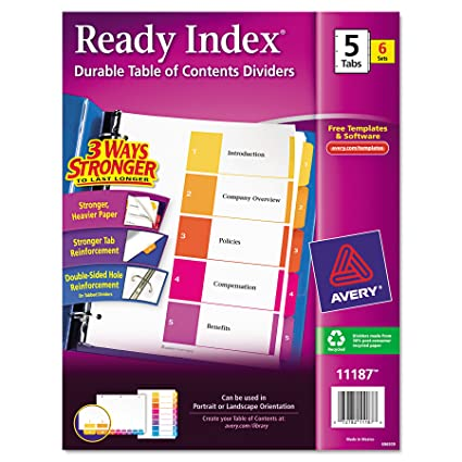 Amazon Avery Ready Index Table Of Contents Dividers 5 Tab Set