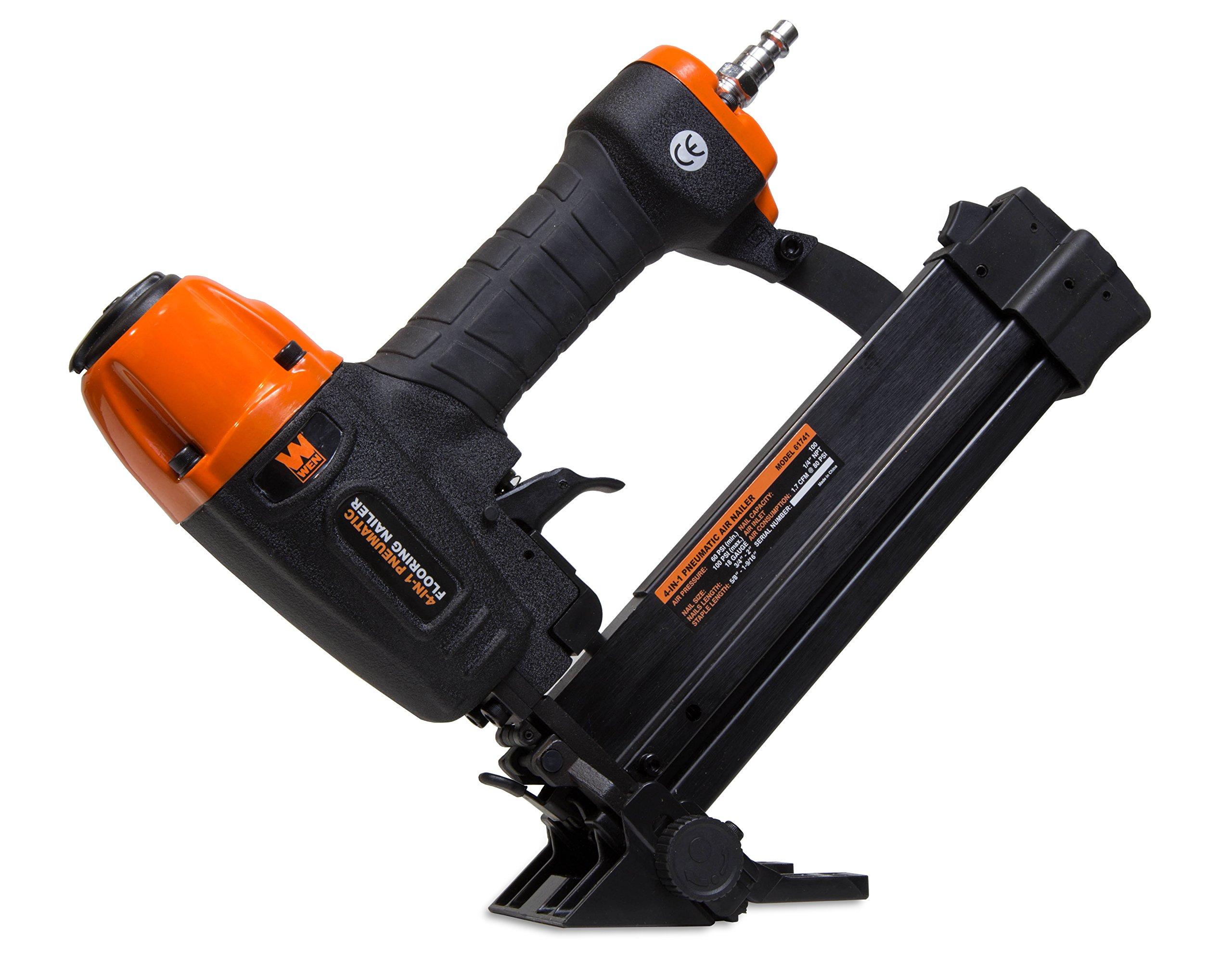 WEN 61741 4-in-1 18-Gauge Pneumatic Flooring Nailer and Stapler with Case by WEN