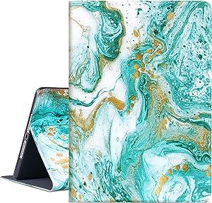iPad 9.7 2018/2017 Case, iPad Air 2, iPad Air Case, Vimorco Soft TPU Back Cover, Bump Drop Resistance Folio Leather Case, Adjustable Stand Auto Wake/Sleep Smart Case ( Cyan-Blue Marble)