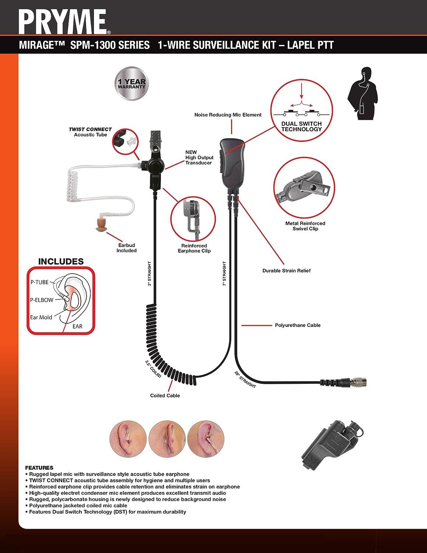 Pryme® MIRAGE Police Lapel Mic PTT Earpiece Motorola XTS5000 XTS2500 XTS3000
