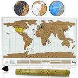 Amazy Weltkarte zum Rubbeln XXL – Schöne Erinnerung an bisherige Reisen für jeden Globetrotter (Weiß   88 x 52 cm)