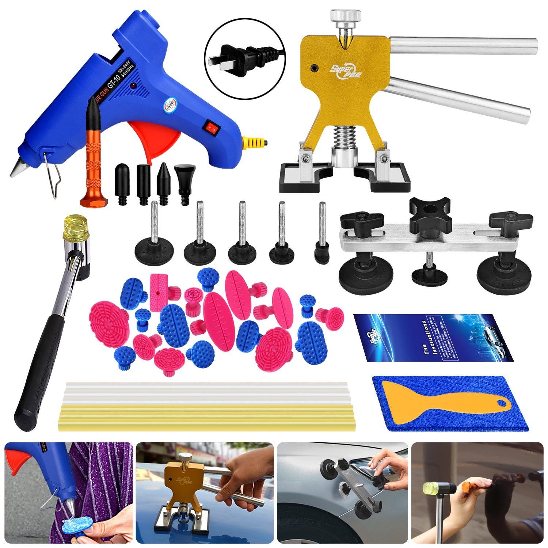Super PDR 33pcs Paintless Dent Repair Tools Bridge Glue Puller Hot Melt Glue Gun Dent Lifter PDR Knockdown Tool Kits