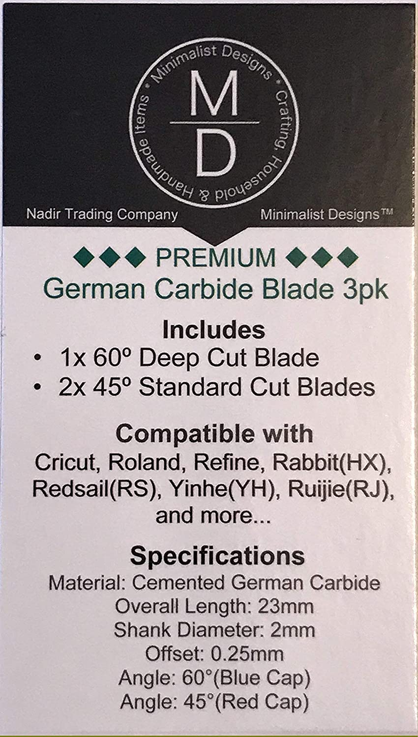 Minimalist Designs Compatible with Cricut 3pk Premium German Carbide Cutting Blades Compatible with Roland 2 Standard 45/° and 1 Deep Cut 60/° Combo Pack