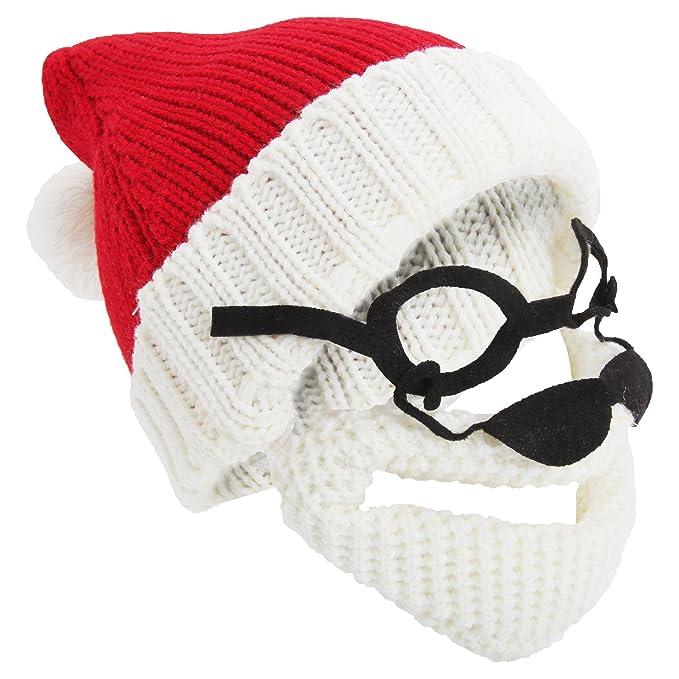 Herren Nikolaus-Strickmütze mit Brille und abnehmbarem Bart ...