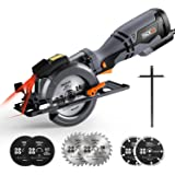 "Circular Saw 4-3/4"", 5.8A, 10feet Cord Length, Laser Guide, Max Cutting Depth 1-9/10'' (90°), 1-3/10'' (0°-45°), 6 Blades, Compact Handheld Design for Wood, Metal, Tile and Plastics Cuts-TCS115A"