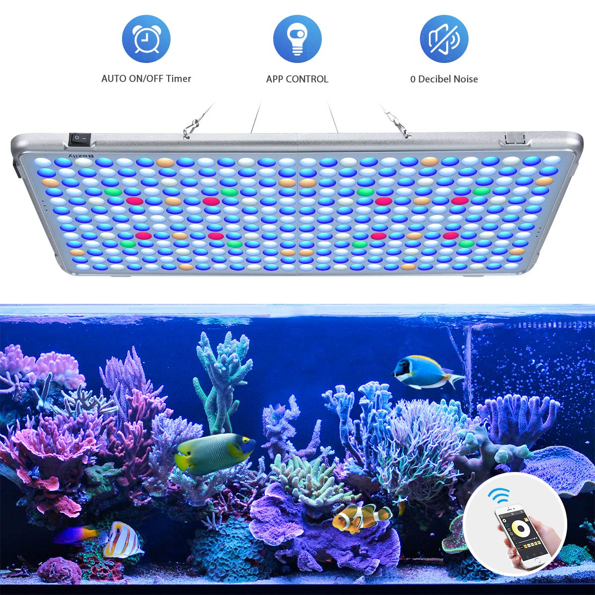 Bozily Aquarium Lights LED 300W, Full Spectrum Coral Reef Light for Aquarium Tanks Lighting APP Control with Auto On/Off Dimming & Timer for Saltwater Freshwater Fish Grow Marine Tank by Bozily