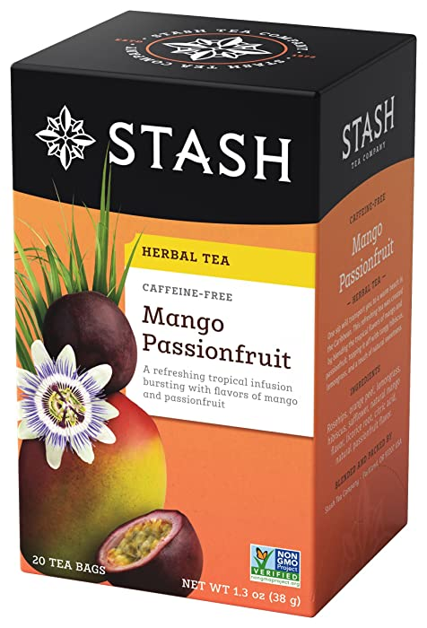 Stash Tea Mango Passionfruit Herbal Tea, 20 Count Box of Tea Bags Individually Wrapped in Foil, Sweet Fruity Caffeine Free Herbal Tisane, Drink Hot or Iced
