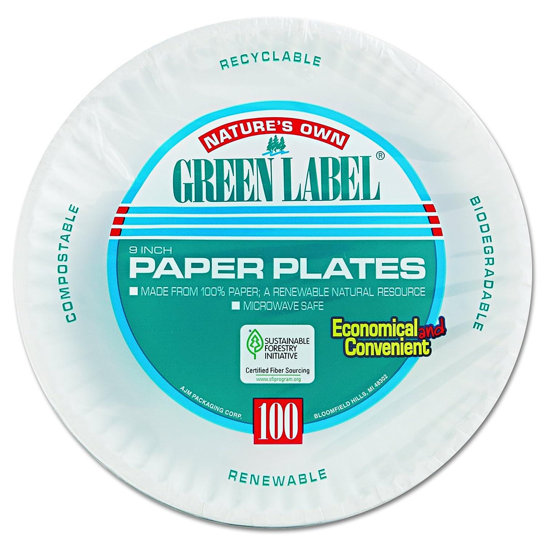 9 Diameter 12 Packs of 100 White AJM Packaging Corporation PP9GRAWH Paper Plates Case of 1200