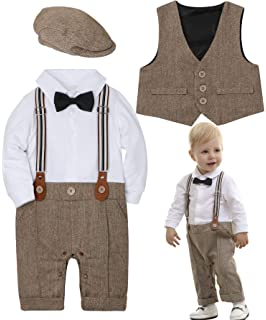 b26509748 ZOEREA Baby Boy Outfits Set, 3pcs Long Sleeves Gentleman Jumpsuit & Vest  Coat & Berets