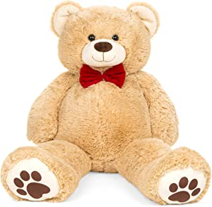 Best Choice Products 38in Giant Super Soft Plush Cuddly Teddy Bear Stuffed Animal Toy for Bedroom, Kids Playroom w/Red Bow Tie, Footprints - Brown