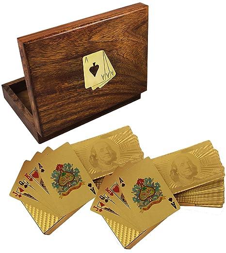Hecho a mano de madera caja de soporte para juego de cartas ...