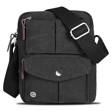 Catmacas Small Vintage Durable Multi-pocket Canvas Shoulder Ipad Messenger  Bag Satchel Crossbody Sling Bag a33c9182228e7