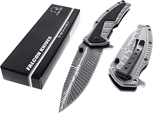 Fantasy Feather Design Tactical Spring Assisted Opened Pocket Folding Knife with G10 Handle. for Camping, Fishing, and Daily Used.