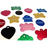 Anodized Pet ID Tags - Choose from Bone, Round, Heart, Hydrant, Paw, or Star Shapes - 9 Color Choices Available
